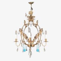 Lámpara de araña de hierro dorado, años 60