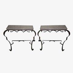 Eisen Wandtischchen aus Frankreich, 2er Set