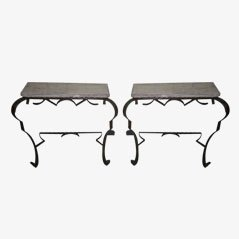 French Iron Consoles, Set of 2