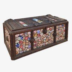 Caja de almacenamiento de loza y madera, 1900