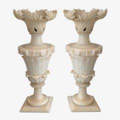 Alabaster Lampen, 1900, 2er Set