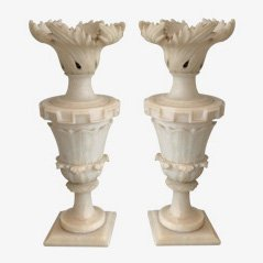 Alabaster Lamps, 1900, Set of 2