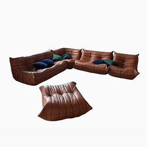 Vintage Togo Cognac Leather Living Room Set by Michel Ducaroy for Ligne Roset, 1980s