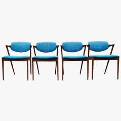 42 Dining Chairs in Turquoise by Kai Kristiansen for Schou Andersen Møbelfabrik, Set of 4