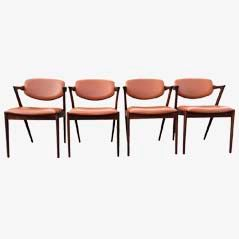 42 Dining Chairs in Brown by Kai Kristiansen for Schou Andersen Møbelfabrik, Set of 4