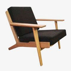 GE290 Black Low Easy Chair by Hans J. Wegner for Getama, 1960s