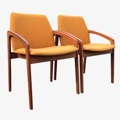 Mustard Yellow Arm Chairs by Kai Kristiansen for Korup Stolefabrik, Set of 2
