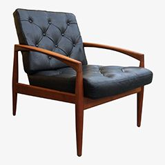 Tufted Leather Easy Chair by Kai Kristiansen for Magnus Olesen, 1960s