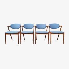 Model 42 Teak Dining Chairs by Kai Kristiansen for Schou Andesen Møbelfabrik, Set of 4