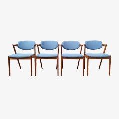 Model 42 Teak Dining Chairs by Kai Kristiansen for Schou Andesen Møbelfabrik, Set of 4