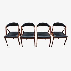 Teak & Leather Dining Chairs by Kai Kristiansen for Gudme Møbelfabrik, Set of 4