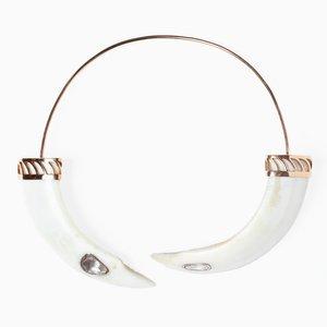 Boar Tooth Necklace with Polki Diamonds by Sara Beltrán