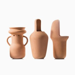 Terracotta Set of 3 Gardenias Large Vases by Jaime Hayon