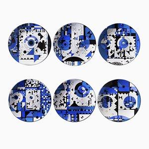 Blue Moods Porzellanteller von Kostas Neofitidis für Kota, 2016, 6er Set