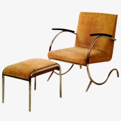 Tubular Easy Chair with Footstool by Paul Schuitema, 1930s