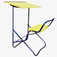 Juego de mesa y silla escolar francés vintage, años 50