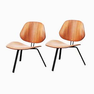 P31 Low Walnut Chairs by Osvaldo Borsani for Tecno, Set of 2