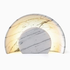 Carved Sunset Lamp in Calacatta Marble by Alban Le Henry