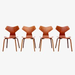 Teak Grand Prix Chairs by Arne Jacobsen for Fritz Hansen, Set of 4