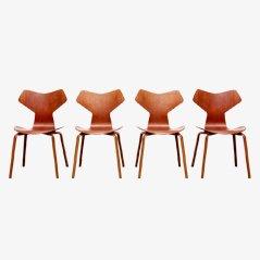 Teak Grand Prix Stühle von Arne Jacobsen für Fritz Hansen, 4er Set