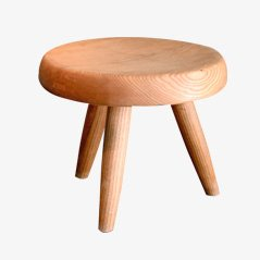 Vintage French Ash Low Stool by Charlotte Perriand