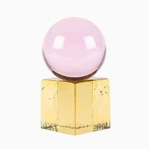 OH MY Mini Glass Sculpture in Pink/Yellow by Maria Gustavsson for Swedish Ninja