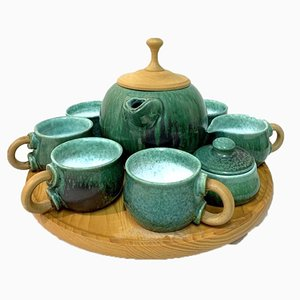 Wabisabi Style Handmade Ceramic Tea Set on Wooden Tray by M. Kalmar, 1970s, Set of 10