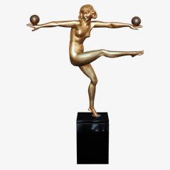 Statua Art Déco in bronzo di Bouraine, Francia, metà anni '20