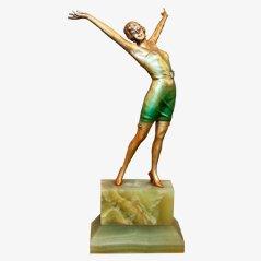 Statua Art Déco da cabaret in bronzo di Josef Lorenzi, anni '30