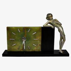 Art Deco Bronze Clock by Josef Lorenzl, ca. 1930