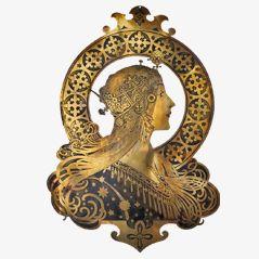 Zodiac Art Nouveau Bronze Plaque by Alphonse Mucha