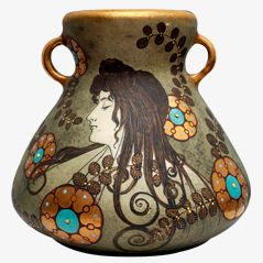 Art Nouveau Ceramic Vase by Eduard Stellmacher