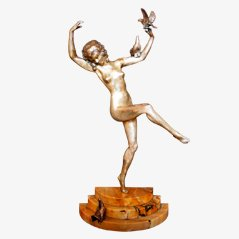 Art Déco Bronzestatue von Marcel-Andre Bouraine, ca. 1925