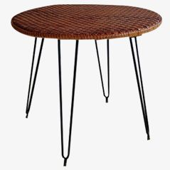 Mid-Century Italian Wicker table, 1950s