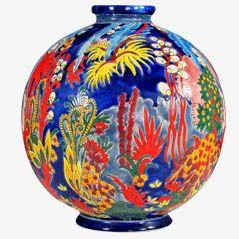 Boulé Coloniale Art Deco Vase by Longwy
