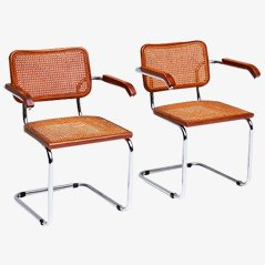 Cane Side Chairs by Marcel Breuer, Set of 2