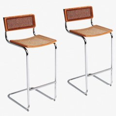 Cesca Bar Stools by Marcel Breuer, 1970s, Set of 2
