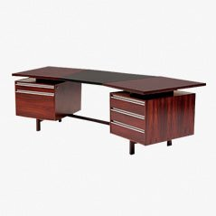 Boomerang Rosenholz und Leder Schreibtisch