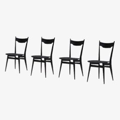 Black Ebonized Wood Dining Chairs, 1970s, Set of 4