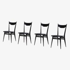 Sedie da pranzo nere in legno ebonizzato, anni '70, set di 4