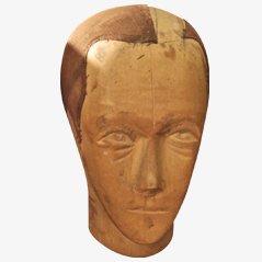 Vintage Wooden Wig Makers Head, France, 1930s