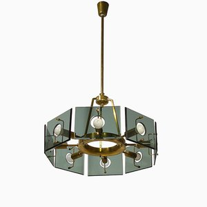 8-Light Italian Pendant from Cristal Arte, 1960s