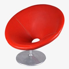Hungarian Red Swivel Chair, 1970s