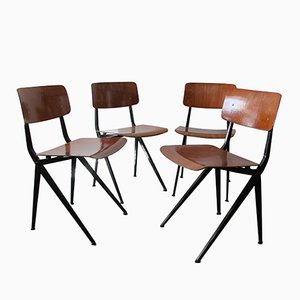 Mid-Century Industrial Steel & Wood Chairs from Marko, 1960s, Set of 4