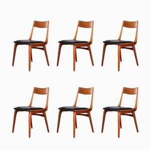 Mid-Century Danish Boomerang #370 Chairs by Erik Christensen for Slagelse Møbelvaerk, 1950s, Set of 6