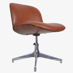 Cognac Leather Desk Chair by Ico Parisi for M.I.M. Roma, 1950s