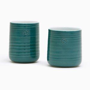 Tazas de té en verde petróleo de Asahiyaki. Juego de 2