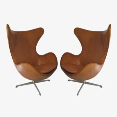 Egg Chairs by Arne Jacobsen for Fritz Hansen, 1963, Set of 2