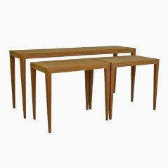 Tavoli a incastro in quercia di Severin Hansen Jr. per Haslev Møbelfabrik, set di 3