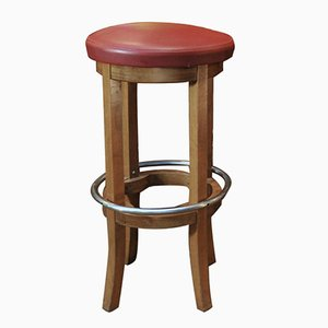 Beech and Red Leather Bar Stool, 1950s